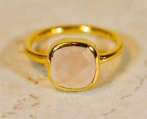 3e1852de6a950 Details about ROSE QUARTZ 18K GOLD PLATED SILVER SIMPLE & ELEGANT LADIES  RING #MV802