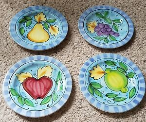 Vietri-RABBIT-IN-THE-ORCHARD-Fruit-Motif-8-5-8-034-Salad-Plates-Set-s-of-4-NEW