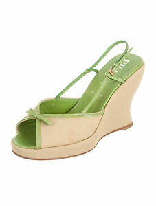 Womens-PRADA-Green-Leather-Trim-Tan-Canvas-Strappy-Platform-Sandals-7-5-38