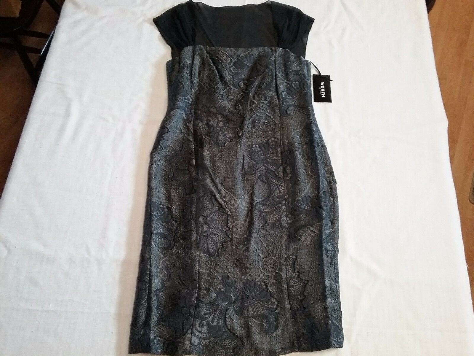 WORTH NY damen Sheath Dress grau Metallic Burnout Jacquard schwarz Mesh Sz-8 NWT