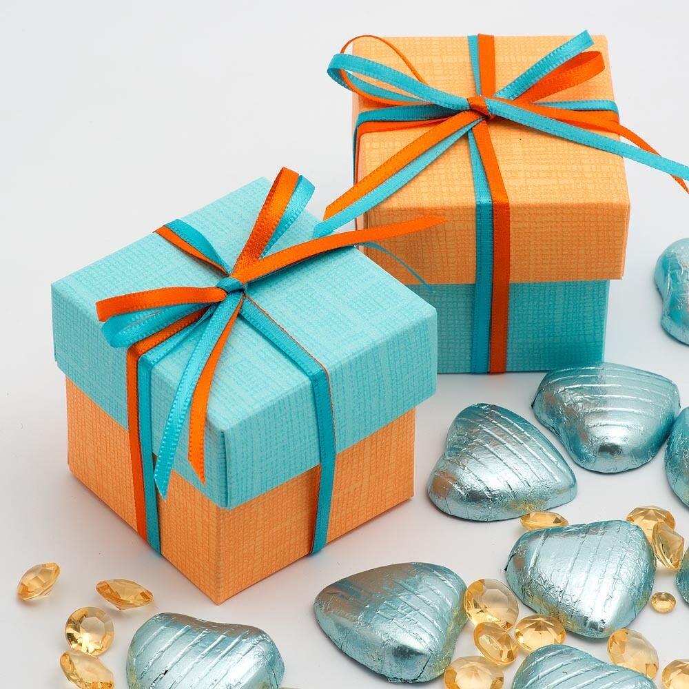 Orange & celeste bleu soie deux Tons Tons Tons Carré boite & couvercle cadeau de mariage ea8b2f