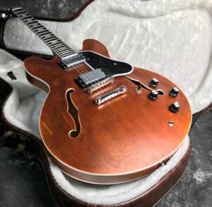 Semi Hollow Body Electric Guitar Ebony Alnico Mother Of Pearl Stain ABR Bridge
