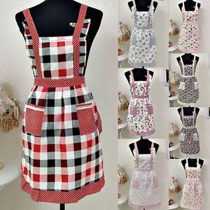 Women Home Kitchen Cooking Bib Flower Style Pocket Lace Apron Dress Gift