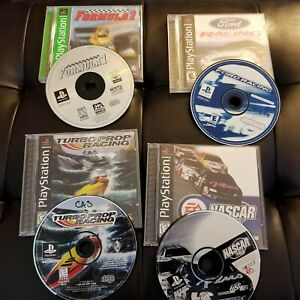 Lot-of-4-PS1-Games-Formula-1-Ford-Racing-Turbo-Prop-Nascar-99-Complete-CIB