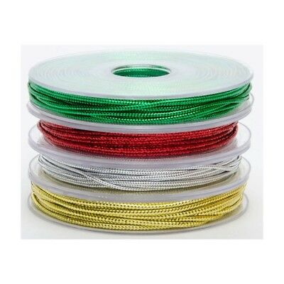 1 x 5 Metre Roll GREEN Metallic Braid String Cord 2mm Width Craft Gift Wrap Tag
