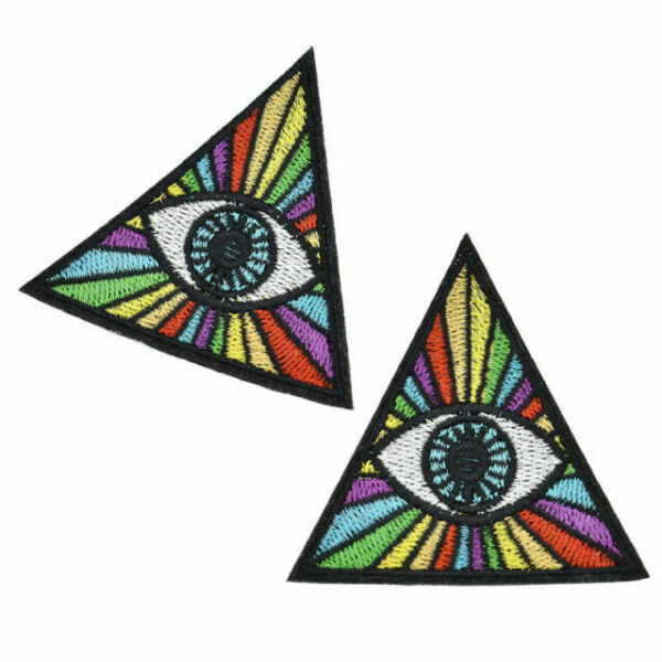 2x Evil Eye Illuminati Embroidered Iron On Patch Clothes Bag Appliques with Gum