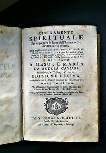 """Libro antico a tema religioso """"Ritiramento Spirituale"""" - Venezia 1740"""