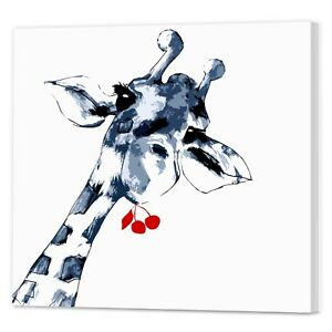 Image Is Loading Watercolour Giraffe Canvas Print Framed Ready Hang Animal