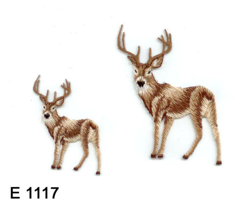 2PC~ DEERS ~IRON ON EMBROIDERED APPLIQUE