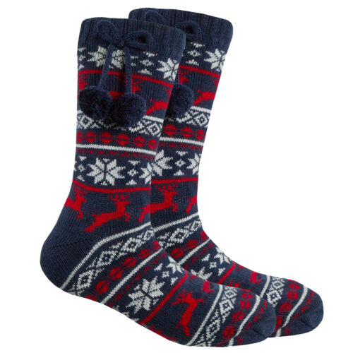 Fairisle Knitted Lounge Socks Girls Fleece Lined Chunky Slipper Socks Gift Idea