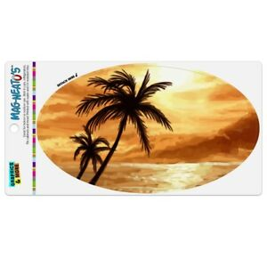 Sunset-on-Tropical-Beach-with-Palm-Trees-Hawaii-Orange-Car-Euro-Oval-Magnet