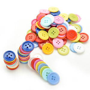 100 Pcs Mixed Color Buttons 4 Holes Children's DIY Crafts 10mm 5 Sizes  ZN