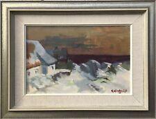 RAGNAR LINDQUIST * 1906 - SCHWEDEN - WINTER AN DER OSTSEE - ALTE KATEN AM MEER