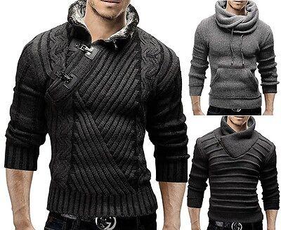 MERISH Strickpullover Slim Fit Pullover Schalkragen Sweats Strick Jacke NEU MIX