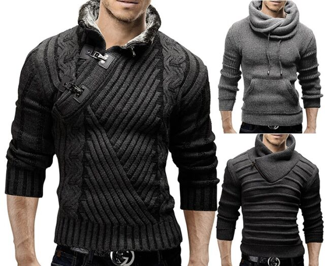 MERISH Strickpullover Slim Fit Pullover Schalkragen Sweats Strick Jacke NEU MIX