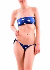 Wildfox Women's Stars Away Gingham Reversible Bandeau Blue Size XS RRP £66 BCF76