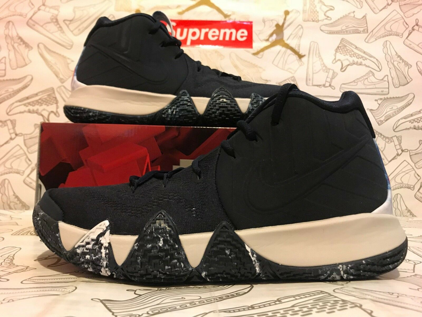 NEW NIKE AIR KYRIE 4 N7 AT0320 400 Dark Obsidian Black White bluee Duke SIZE 10.5