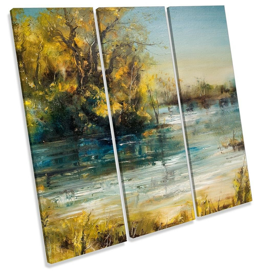 Gelb Landscape Repro River TREBLE CANVAS Wand KunstWORK Drucken Kunst