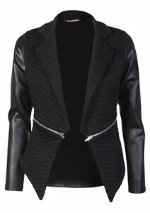 Show Details Zip Pvc Original New Quilted Long About Blazer Sleeve Ladies Waterfall Look Title Pu ynN8wmOPv0