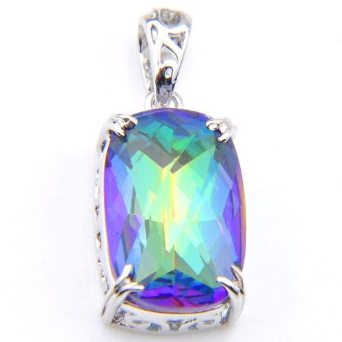 Rectangle Style Rainbow Mystic Topaz Gemstone Vintage Silver Collier Pendentifs