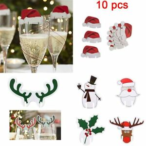 10pcs-Christmas-Santa-Hat-Table-Red-White-Place-Cards-Name-Wine-Glass-Decoration