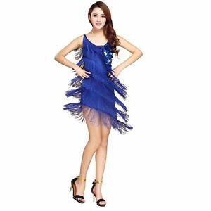2eaff269cb427 PLUS SIZE】Women Latin Dance Dress Salsa Tango Tassel Sequins Samba ...