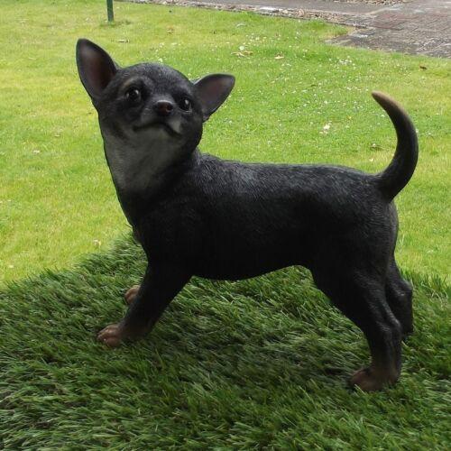 Gartenfigur Hund Chihuahua 37-000a schwarz Haus Garten lebensecht Figur