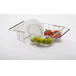 Kitchen-Stainless-Steel-Extended-Dish-Drying-Rack-Cutlery-Drainer-Dryer-Tray-ABS