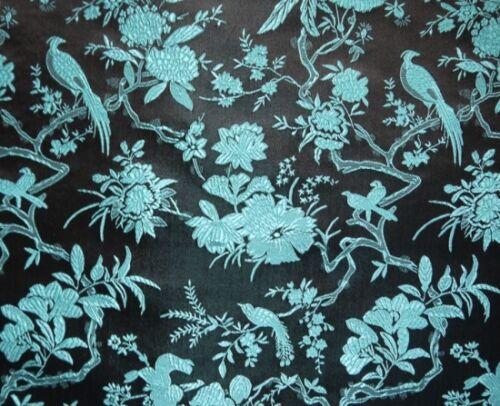 blau Meterware China Brokat Blumen und Vogel braun