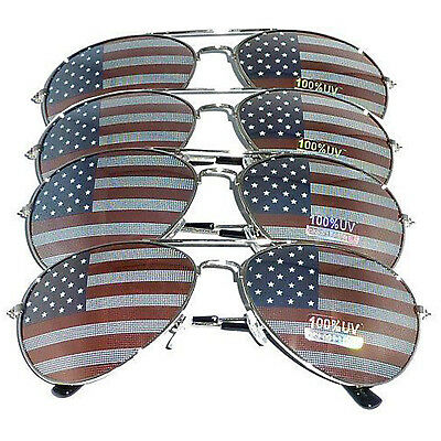 4 PAIRS of SILVER US Aviator USA American Flag Sunglasses United States stars