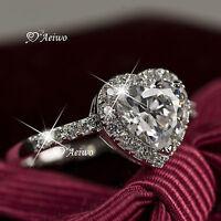 18K WHITE GOLD GF MADE WITH SWAROVSKI CRYSTAL WEDDING BAND ENGAGEMENT RING HEART