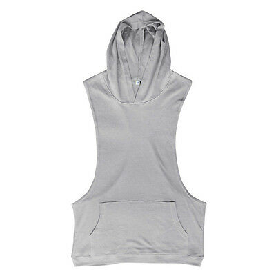 Men Gym Clothing Bodybuilding Stringer Hoodie Tank Top Muscle  hooded Shirt