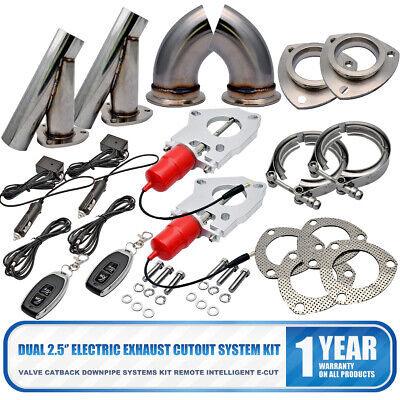 """2X Universal Electric Exhaust 2.5/"""" Inch Cutout Electric Cutout Kit Remote"""