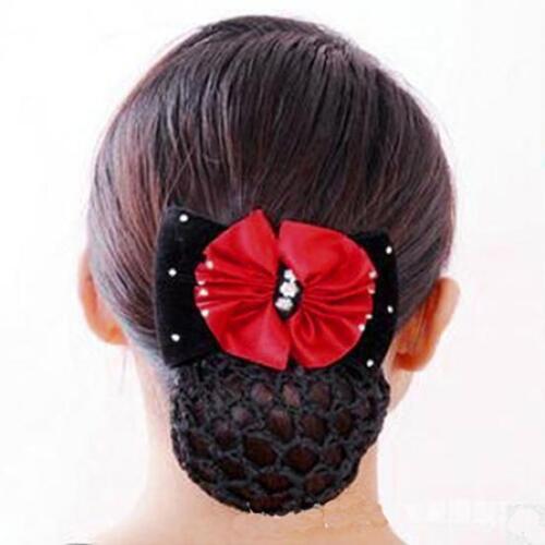 Damen Haarclip mit Haarnetz Haarklammer Haarspange Pferdeschwanz Schleife Strass