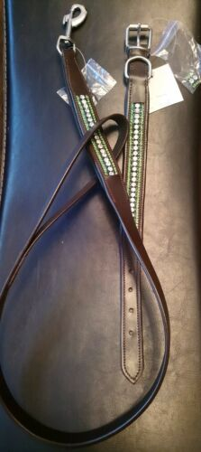 """Leather lead rein Dog lead 42/""""  trigger clip 20mm Green Bling Brown or Black"""