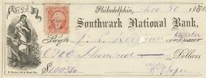 1871  PHILADELPHIA, PENNSYLVANIA    WITH REVENUE STAMP & 2 YOUNG LADIES VIGNETTE