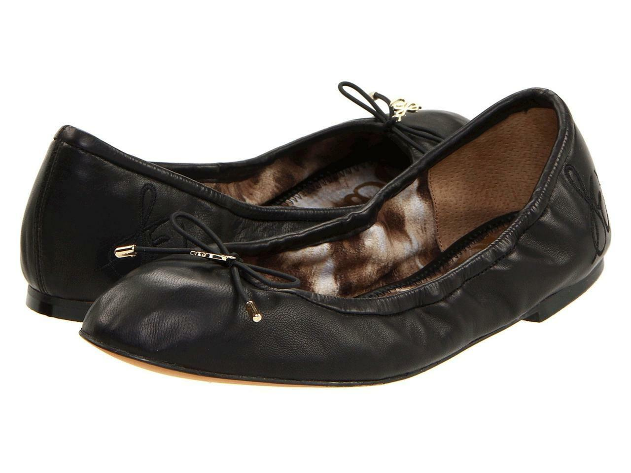 profitto zero Sam Edelman Felicia Ballet Flat Flat Flat nero Leather Easy slip-on wear elasticized New  alta qualità genuina
