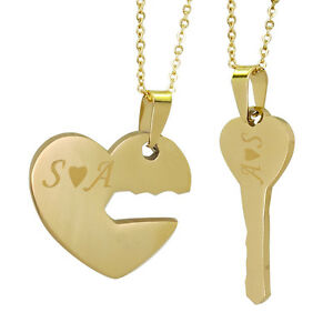 Key to my heart 2 pcs couple name pendant necklaces gold name image is loading key to my heart 2 pcs couple name aloadofball