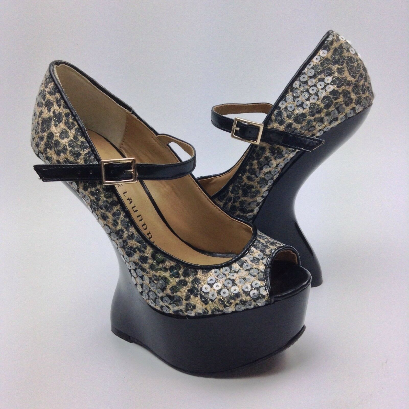 Chinese Laundry China High Doll Heeless Wedge Pumps Größe 5M High China Heels Leopard 19a89a