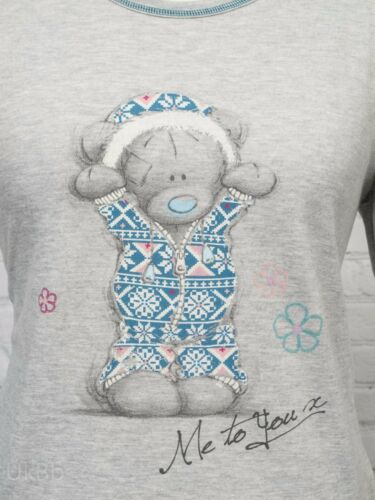 EX M/&S Tatty Teddy Pyjama Top Me To You Soft Stretchy Grey Long Sleeve XL 20-22