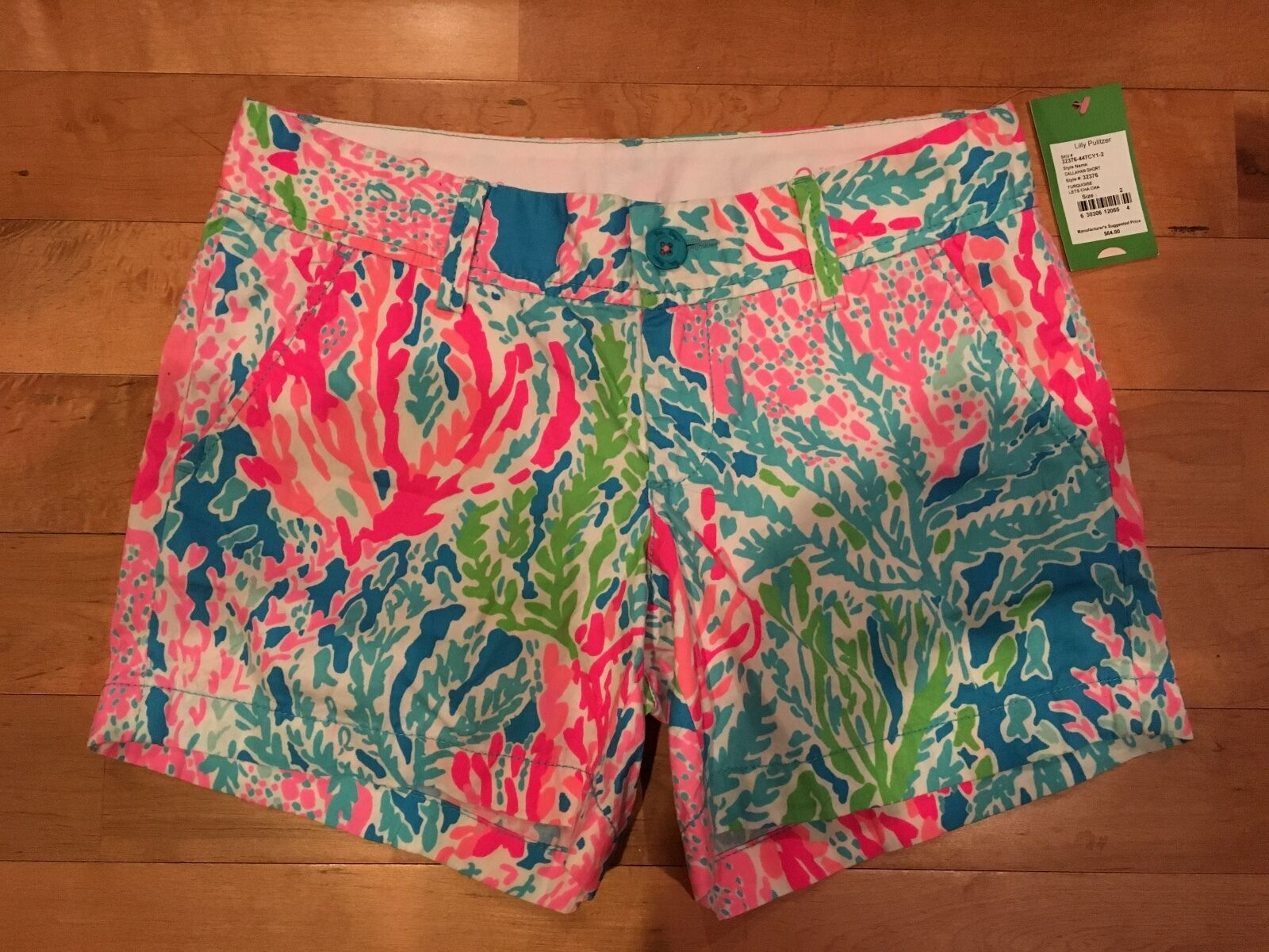 NEW Lilly Pulitzer Let's Cha Cha  Callahan Shorts Size 4 Coral Reef Holy Grail