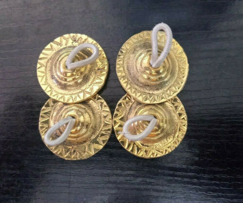 """2 Pairs 4 Pcs Zills Finger Cymbals Sagat Belly Dance Party Brass Engraved 1.6/"""""""