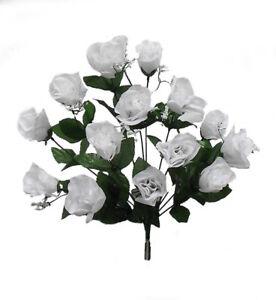 84 White Roses Long Stem Silk Flower Bush Wedding Bridal Bouquet
