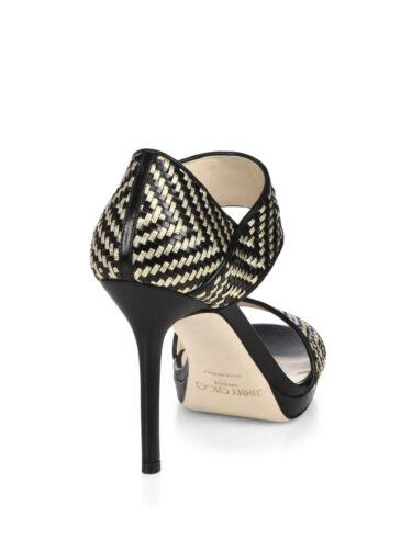 Choo Sandali Di Ballerine Scarpe Oro Jimmy 36 Nero Alana Cuoio Intrecciato Tacco 4IqxOdw