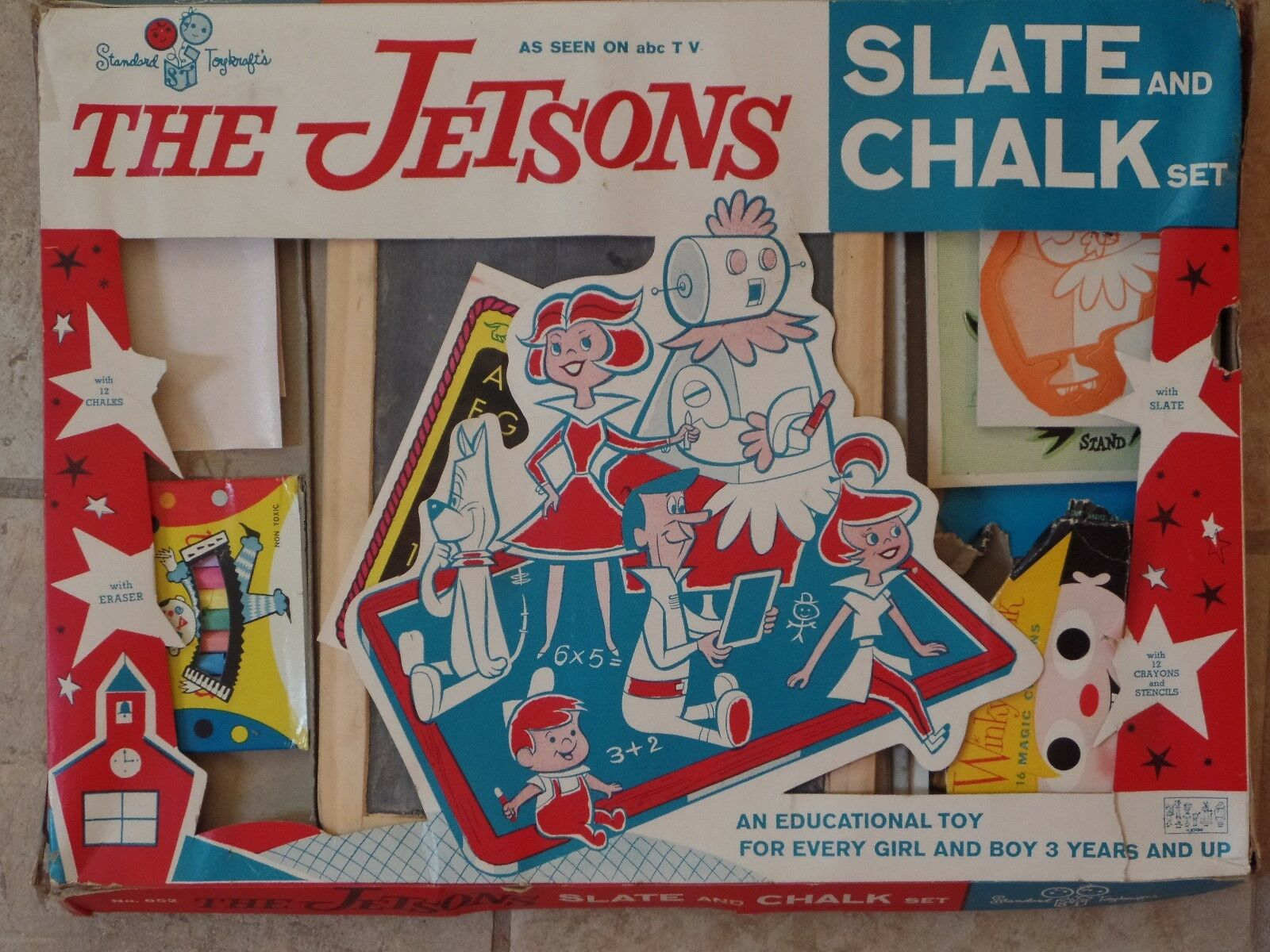 tienda de venta El conjunto conjunto conjunto de los súpersónicos pizarra y tiza por Juguetekrafts 1964 estándar  Ahorre hasta un 70% de descuento.