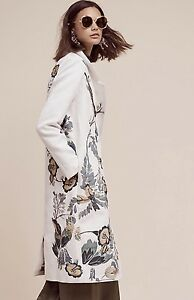 NWT-Anthropologie-Coat-white-Bird-Butterfly-Floral-Embroidery-M