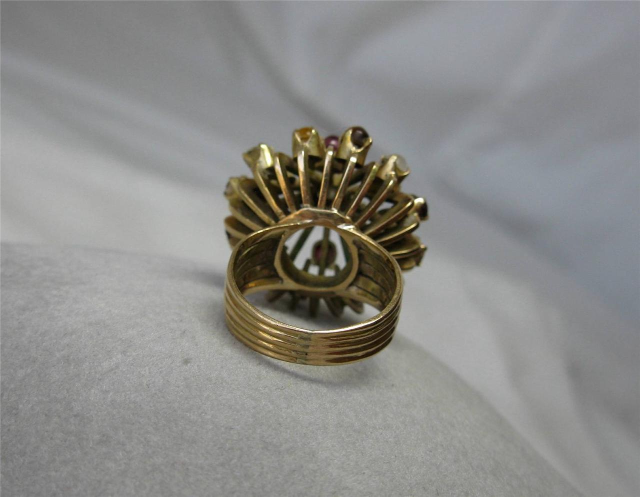 Smeraldo Rubino Zaffiro Diamante Principessa Principessa Principessa Anello 14k oro faaf17