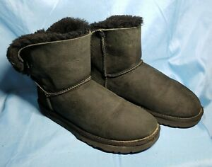 Ugg Australia 1005062 Black Mini Bailey Bow Size 9 Leather