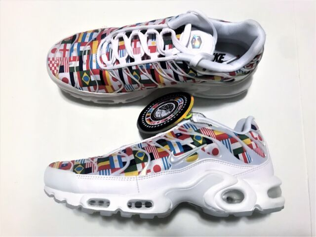 Nike Air Max Plus NIC White Multi World Cup Flag Pack AO5117 100 Men's Size 8.5
