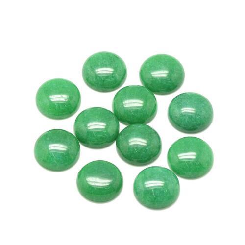 2 Jade grün Cabochons 8mm rund flach Schmuckstein #406